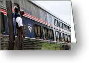 Lyle  Huisken Greeting Cards - Amtrak Conductor Greeting Card by Lyle  Huisken