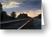 Railroad Tracks Greeting Cards - Amtrak Railroad System Greeting Card by Carolyn Marshall