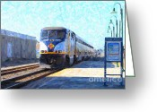 Train Track Greeting Cards - Amtrak Train At The Station Greeting Card by Wingsdomain Art and Photography