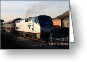 Fremont Street Greeting Cards - Amtrak Trains at The Niles Canyon Railway In Historic Niles District California . 7D10856 Greeting Card by Wingsdomain Art and Photography