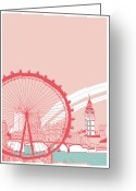 Ferris Wheel Greeting Cards - Amusement Park Greeting Card by Thanks Love Happy Peace Smile
