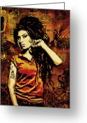 Black Mixed Media Greeting Cards - Amy Winehouse 24x36 MM Reg Greeting Card by Dancin Artworks
