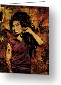 Colorful Photography Mixed Media Greeting Cards - Amy Winehouse 24x36 MM Variant Greeting Card by Dancin Artworks