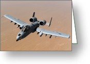 Gunship Greeting Cards - An A-10 Thunderbolt Ii Over The Skies Greeting Card by Stocktrek Images