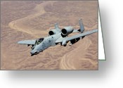 Gunship Greeting Cards - An A-10 Thunderbolt Soars Greeting Card by Stocktrek Images