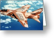 Operation Desert Storm Greeting Cards - An A-7 Corsair Ii In Flight Greeting Card by Stocktrek Images
