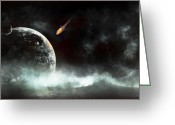 Cataclysm Greeting Cards - An Abandoned Planet About To Get Hit Greeting Card by Tomasz Dabrowski