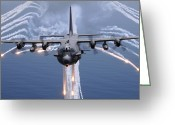 Military Photo Greeting Cards - An Ac-130h Gunship Aircraft Jettisons Greeting Card by Stocktrek Images