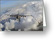 Gunship Greeting Cards - An Ac-130u Gunship Jettisons Flares Greeting Card by Stocktrek Images