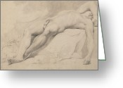 Figure Pose Greeting Cards - An Academy Greeting Card by John Hamilton Mortimer