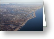 Harbors Greeting Cards - An Aerial Of Newport Beach Harbor Greeting Card by Rich Reid