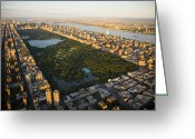 City Streets Greeting Cards - An Aerial View Of Central Park Greeting Card by Michael S. Yamashita