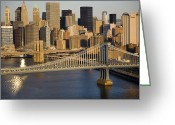 Image Type Photo Greeting Cards - An Aerial View Of The Manhattan Greeting Card by Michael S. Yamashita