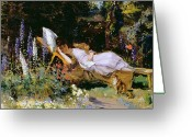 Spring Scenes Painting Greeting Cards - An Afternoon Nap Greeting Card by Harry Mitten Wilson