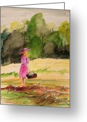 Fine Art Watercolor Drawings Greeting Cards - An Afternoon Outing Greeting Card by John  Williams