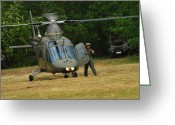 Battleground Greeting Cards - An Agusta A109 Helicopter Greeting Card by Luc De Jaeger