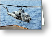 Gunship Greeting Cards - An Ah-1w Super Cobra Helicopter Greeting Card by Stocktrek Images