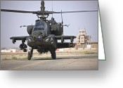 Gunship Greeting Cards - An Ah-64 Apache Helicopter Returns Greeting Card by Terry Moore