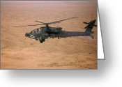 Arid Climate Greeting Cards - An Ah-64d Apache Longbow Fires A Hydra Greeting Card by Terry Moore