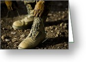 Tying Shoe Greeting Cards - An Air Force Basic Military Training Greeting Card by Stocktrek Images