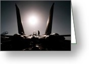 Maintenance Greeting Cards - An Aircraft Mechanic Works On An F-14b Greeting Card by Stocktrek Images