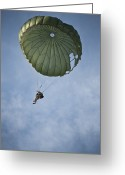 Skydiving Greeting Cards - An Airman Descends Through The Sky Greeting Card by Stocktrek Images