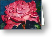 Single Rose Greeting Cards - An American Beauty Greeting Card by Barbara Jewell