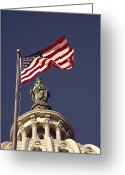 National Flag Greeting Cards - An American Flag And The Statue Greeting Card by Medford Taylor