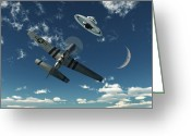 Flying Saucer Greeting Cards - An American P-51 Mustang Gives Chase Greeting Card by Mark Stevenson