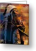 Native Portraits Greeting Cards - An American Sunrise Greeting Card by Paul Sachtleben