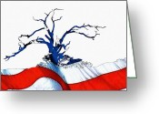 Glory Greeting Cards - An American Tree Greeting Card by Stefan Kuhn