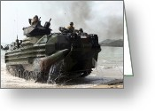 Armored Vehicles Greeting Cards - An Amphibious Assault Vehicle Hits Greeting Card by Stocktrek Images