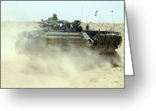 Iraq Greeting Cards - An Amphibious Assault Vehicle Kicks Greeting Card by Stocktrek Images