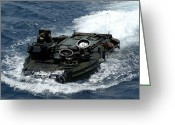 Armored Vehicles Greeting Cards - An Amphibious Assault Vehicle Navigates Greeting Card by Stocktrek Images