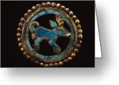Gold Earrings Photo Greeting Cards - An Ancient Moche Indian Ear Ornament Greeting Card by Bill Ballenberg
