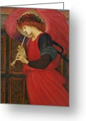 Edward Greeting Cards - An Angel Playing a Flageolet Greeting Card by Sir Edward Burne-Jones