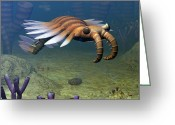 Ecosystem Greeting Cards - An Anomalocaris Explores A Middle Greeting Card by Walter Myers
