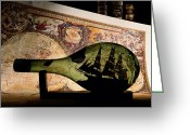 Diagrams Greeting Cards - An Antique Map Provides The Backdrop Greeting Card by Todd Gipstein