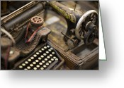 Typewriters Greeting Cards - An Antique Typewriter And Sewing Greeting Card by David Evans