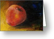 Food And Beverage Art Greeting Cards - An Apple - A Solitude Greeting Card by Jun Jamosmos