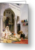 Carpet Painting Greeting Cards - An Arab Weaver Greeting Card by Armand Point