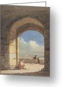 1842 Greeting Cards - An Arch at Holy Island - Northumberland Greeting Card by John Varley