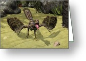 Cretaceous Greeting Cards - An Archaeopteryx Depicted Greeting Card by Walter Myers