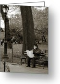 Portrait Artist Photo Greeting Cards - An artist in Central Park Greeting Card by RicardMN Photography
