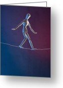 Walking Tightrope Greeting Cards - An Artists Figure Walking A Tightrope Greeting Card by Larry Washburn