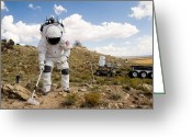 Desert Rats Greeting Cards - An Astronaut Collects A Soil Sample Greeting Card by Stocktrek Images