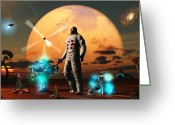 Astronaut Digital Art Greeting Cards - An Astronaut Discovers A World With An Greeting Card by Mark Stevenson