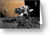 Astronaut Digital Art Greeting Cards - An Astronaut Makes First Human Contact Greeting Card by Walter Myers