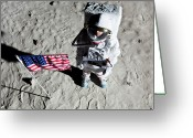 Directly Above Greeting Cards - An Astronaut On The Surface Of The Moon Next To An American Flag Greeting Card by Caspar Benson