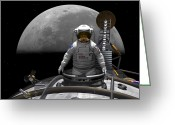 Astronaut Digital Art Greeting Cards - An Astronaut Takes A Last Look At Earth Greeting Card by Walter Myers